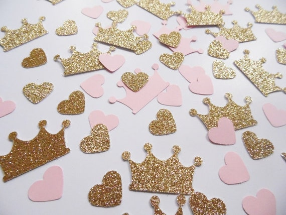 Princess crown confetti pink and gold heart confetti party for Deco de table princesse