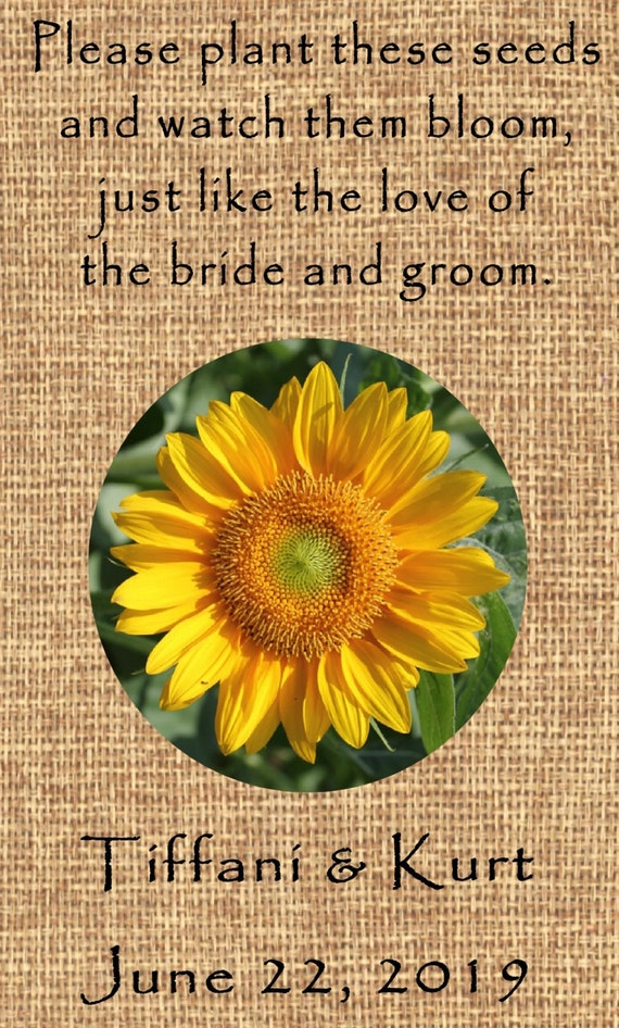 Personalized Wedding Favor Wildflower Seed Packets Burlap