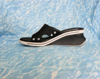 90s Sporty Platform Sandals / Black Adidas-Style Health Goth Athletic Wedge Sandals / Size US 9 Uk 7 Eu 39.5