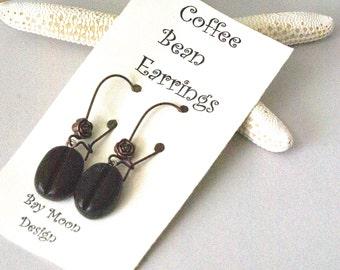 Handmade Coffee Earrings, Cute Teacher Gift for Coffee Lover, Coffee Bean Earrings, Coffee Geek, Java Earrings,  Coffee Bean Jewelry