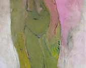 Standing Nude, Scared, Original oil painting on paper