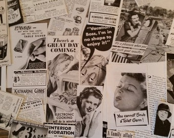 50 Pieces of Vintage Ephemera..Magazine Ad Clippings..Black and White Clippings..Altered Art Supply..Mixed Media Supply..Paper Ephemera