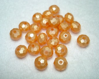 Light Gold Faceted Glass Abacus Beads (Qty 24) - B2718