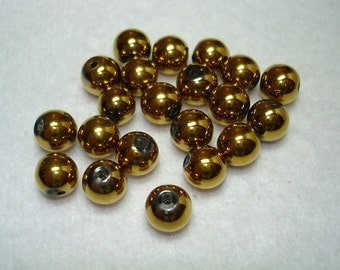 Gold Electroplate Glass Round Beads (Qty 20) - B2724