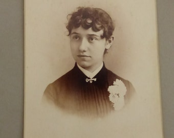 Antique Cabinet Card Portrait  with Key Brooch CC275