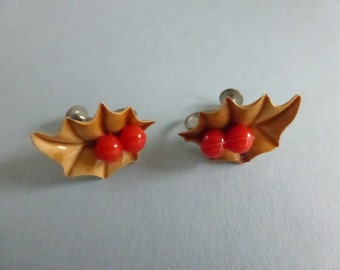 Vintage 1940s Celluloid Holly Earrings