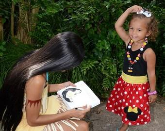 MINNIE MOUSE, disney dress, birthday party dress, red polka dots black tanktop dress, girls minnie mouse birthday dress, 1st Birthday party