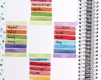 Watercolor Weekly Box Stickers Printable - Rainbow - Instant Download - to fit your Erin Condren