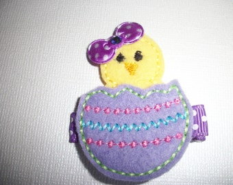 Boutique Embroidered Felt Easter Chick Hair Clippie (Item 15-146)
