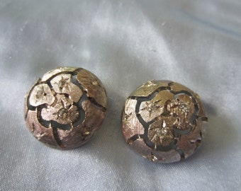 Vintage Button - 2 beautiful matching large rhinestone embellished,  unique design silver antique finish metal,   (dec 111)
