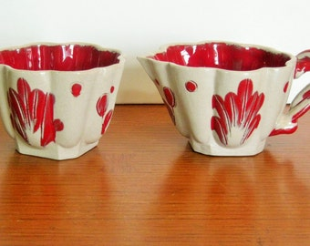 Cyber Monday Sale  Beautiful Vintage Red and Beige Ceramic Pitcher and Sugar Bowl