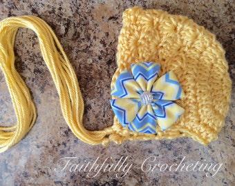 Newborn bonnet.. Flower hair clip.. Photography prop.. Ready to ship.. Yellow