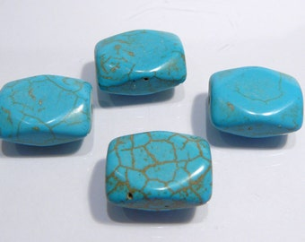 Blue Howlite Turquoise Rectangle Gemstone Beads....18x12mm....4 Beads