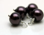 Dark Mauve Pearl and Silver Bead Dangle Drop Charm Set