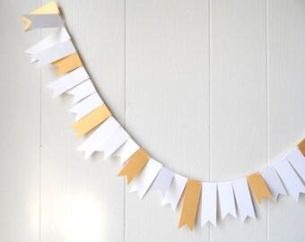 White and Gold Garland Wedding Garland Bunting Flag Fringe Garland Summer Party