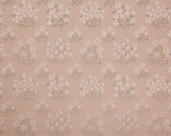 1960s Vintage Wallpaper Tiny White Flowers with Silver Metallic Stems on Shimmery Pink by the Yard
