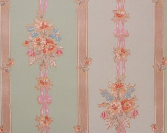 1930s Vintage Wallpaper Bouquets with Pink Ribbon on Green Stripe by the Yard