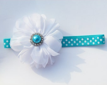 Dark Aqua Polka Dot Elastic Headband w/ White Double Ruffle Hair Flower and Jewel Center - baby girl toddler 3-12 months - ready to ship