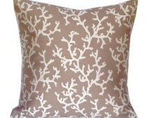 Womens gift ideas, Reversible Taupe Coral Pillow Covers, Brown White Coastal Throw Pillow Covers, 18x18