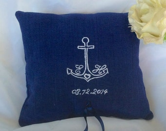personalized wedding ring pillows, wedding navy ring bearer pillow , blue personalized ring pillow, beach ring pillows