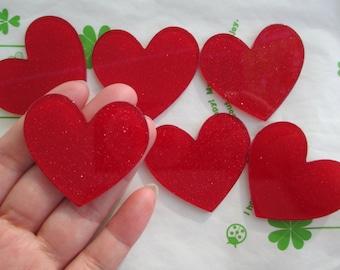 Glitter heart acrylic cabochons 4pcs 45mm x 42mm Red new item