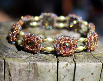 Hand Beaded Bracelet with 8mm Swarovski Rivoli, green Freshwater pearls, 14k gold filled box clasp