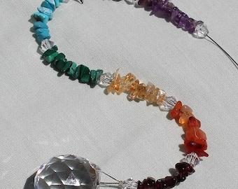 Chakra Gemstone Suncatcher, 20mm Asfour Crystal Ball, 7 Centers, Gem Chip Beads, Beaded Handmade Birthday, Mother's Day Gift Idea 27GS06