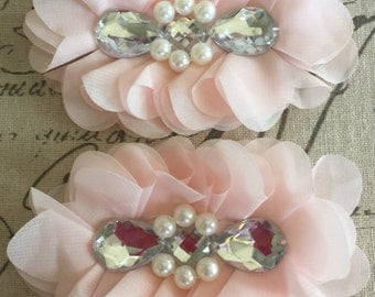 FLOWERS-TEARDROP Rhinestone and Pearl Center Baby PEACH set of 2-4.5 x 3.5 inches wide