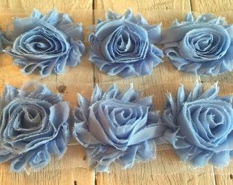 Shabby Rose Trim in BLUE 2 1/2 inch-1/2 yard