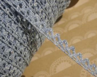 "Denim Blue Cluny Lace - Vintage Trim - Narrow Sewing Crochet Trim - 3/8"""