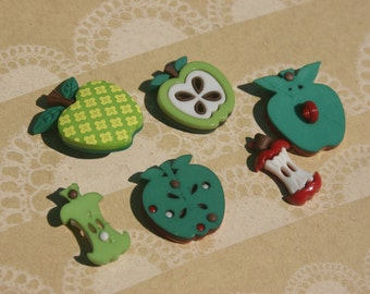 "Apple Buttons - Apples Button - Granny Smith Sliced Apple Buttons - Sewing Shank Buttons  - 7/8"" Tall - 6 Buttons"