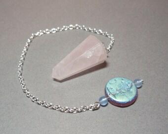 Rose Quartz and Full Moon Dowsing Pendulum