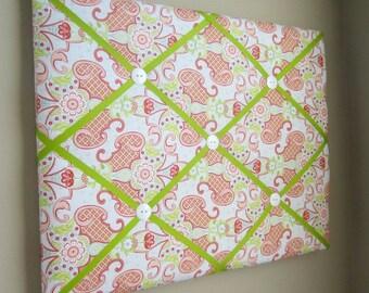 "16""x20"" Bijou Blue, Pink, Green, Coral Ribbon Memory Board, French Memo Board, Fabric Board, Ribbon Board, Bulletin Board, Pin Board, Photos"