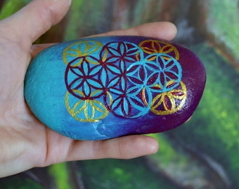 Hand Painted Sacred Geometry River Stone Paperweight Decor