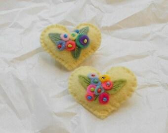 Pale Yellow Garden Felt Heart Flower Bouquets, Pin-Brooch in Pale Yellow w/Bright & Pastel  Flowers