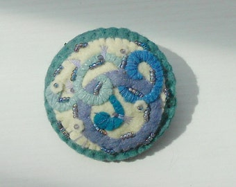 Felt Pin - Beaded Curls and Swirls a Beaded Felt Pin Brooch in Shades of Plum, Blues, Aquas
