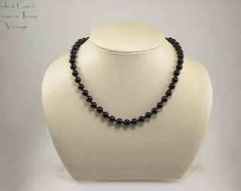 Black Onyx Polished Bead Vintage Necklace NWT Never Worn