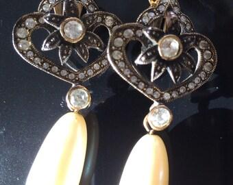 Vintage faux pearl marcasite rhinestone earrings