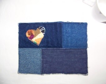 Scrappy Heart Quilted Mug Rug or Denim Blue  Coaster #13