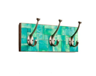 Wall Coat Rack - Green Mosaic - Contemporary - Handmade Paper - Geometric Bathroom Fixture Stained Glass - Turquoise Wall Decor - Teal Paper