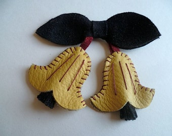 Yellow, Black and Red Leather Hand Stitched Suede Canterbury Bells Brooch