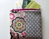 Small Zipper Bag, Grey, Pink, Lime Flowers, Dots Coin Purse, Credit Card Bag, Gift Card Holder