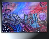 Crazy Land Of Clocks Gears Swirly Trees Original Landscape 24x36 Find Me In The Land Of Lost Time