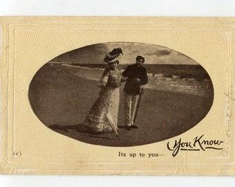 Vintage Lovers postcard real photo postcard Lovely Romantic Couple, Vintage Postcard RPPC