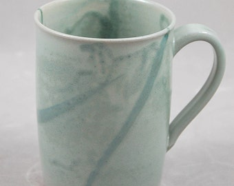 Wheel Thrown Large Mug in Aqua for Coffe Tea or Anything