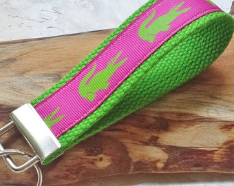 Fabric Wrist Key Chain / Key Fob / Fabric Keychain / Pink and Green Gators