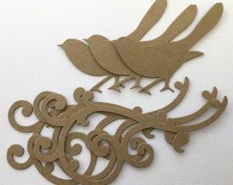 Bird Scroll Flourish - Chipboard Die Cuts - Bare Kraft Embellishments - Separate Pieces