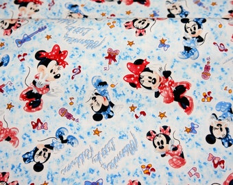 Disney Cartoon  Minnie Mouse Print Japanese fabric 50 cm by 53  cm or 19.6 inch by 21 inch Fat Quarter
