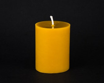 Pure Beeswax 3 inch x 4 inch pillar candle