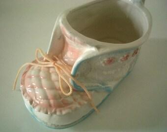 Vintage Ceramic Baby Shoe Vase/planter by Parma